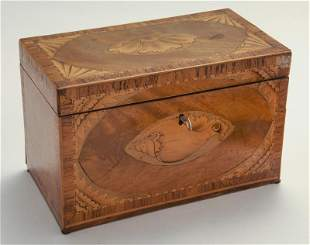 Early English mahogany and satinwood tea caddy