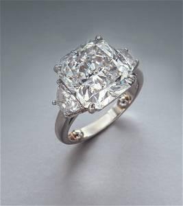 Platinum 8.36 ctw. (GIA) diamond ring,