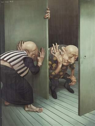 "Lui Liu ""Untitled (Two figures)"" oil on canvas."