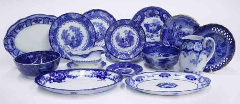 (14) Pcs. Antique English flow blue china.