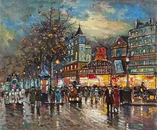 """Antoine Blanchard """"Moulin Rouge"""" oil on canvas."""