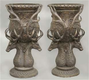 Pr. Large bronze garden urns,