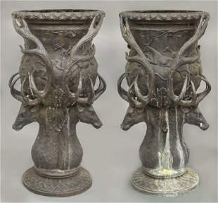 Pr. Large bronze garden urns.