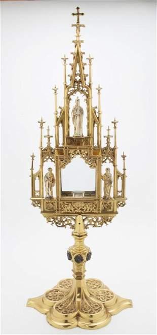 French gilt bronze monstrance,