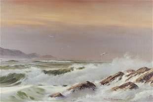 "William Slaughter ""Untitled (Seascape)"" oil"