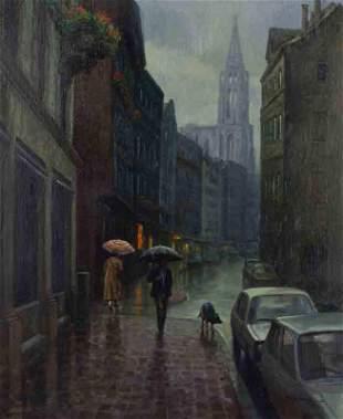 """Martin Grelle """"Misty Morning Strasbourg"""" oil"""