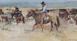 "Tom Dorr ""Untitled (Cowboys)"" oil on board, 1990."