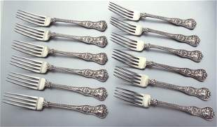(12) Tiffany & Co. Olympian sterling silver forks,