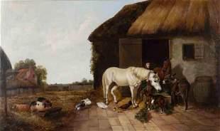 "W. Hird ""Farmyard Scene"" oil on canvas."