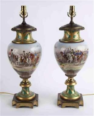 Pr. Sevres style porcelain lamps