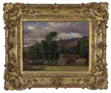 """Attributed to John Constable """"View of Langham,"""