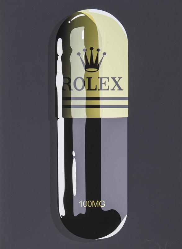 "Denial ""Fashion Addict Rolex"" print."