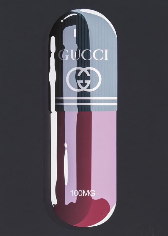 "Denial ""Fashion Addict Gucci"" print."