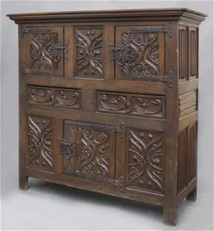 English carved oak Gothic style court cupboard