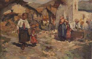 "D. Bronscone ""Untitled (European Scene)"" oil"