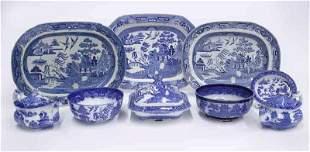 "(9) Pcs. Antique English ""Blue Willow"" pattern"