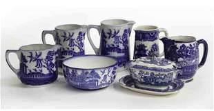 "(8) Pcs. Antique ""Blue Willow"" pattern china,"