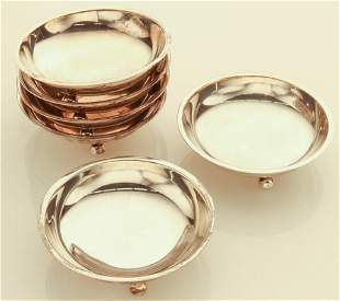 (6) Cartier sterling silver nut dishes,