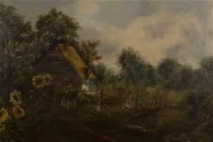 """Artist Unknown """"Cottage Garden"""" oil on canvas."""