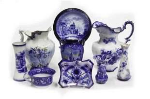 (9) Pcs. Antique flow blue china,