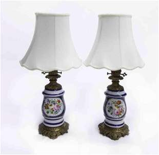 Pr. French porcelain oil lamps converted