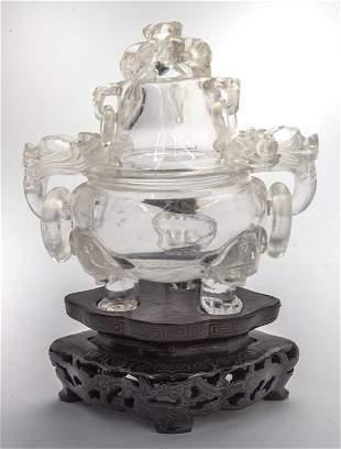 Chinese carved rock crystal incense burner,