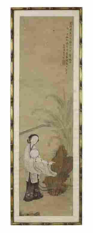 Chinese Qing watercolor painting by Chen Zhen Ji,