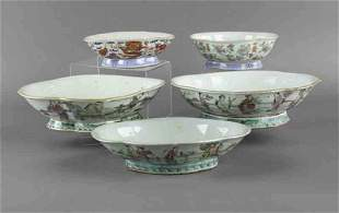 (5) Chinese famille rose porcelain bowls,