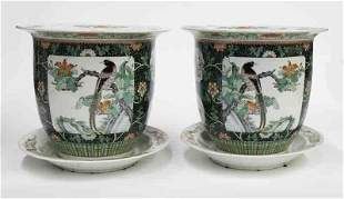 Pr. Chinese famille verte porcelain planters,