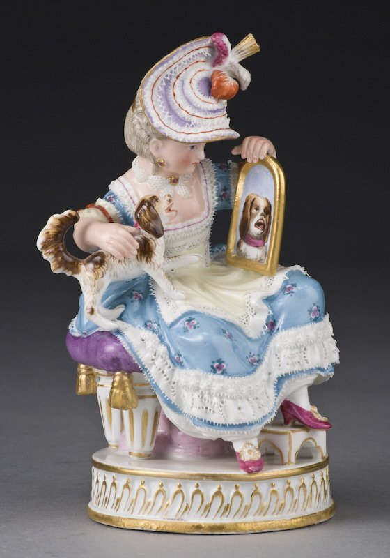1: Meissen figural group of a lady with dog