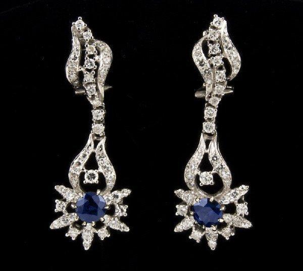 3: Pr. 14K gold, diamond, and sapphire earrings