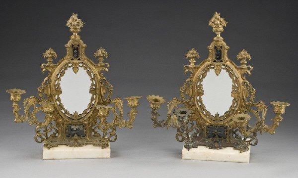 6: Pr. Louis XV style gilt  bronze 4-light girandoles