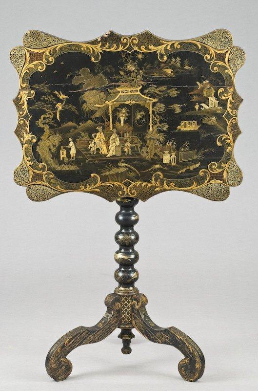 8: Chinoiserie rectangular tilt top table,