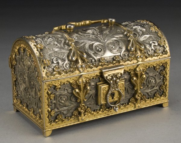 10: French Art Nouveau silvered and gilt bronze casket