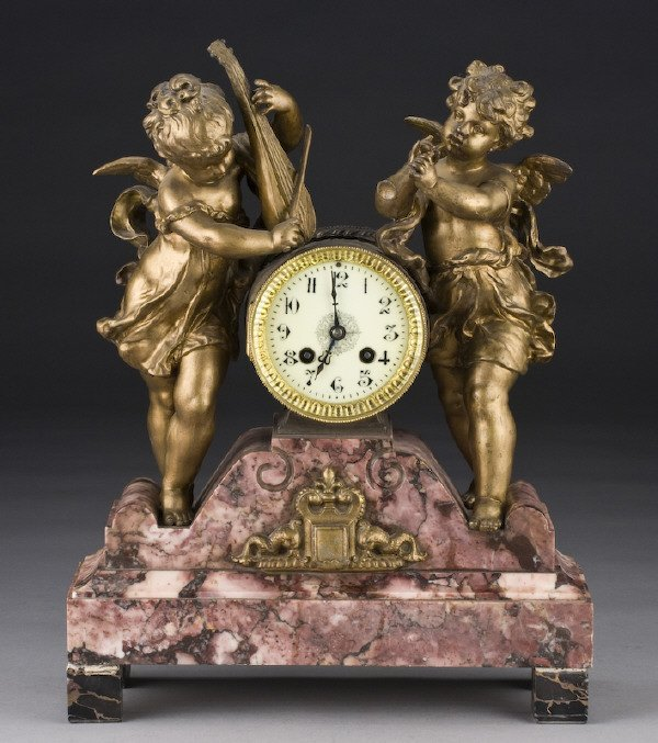 11: French figural mantel clock,