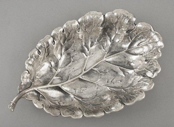 14: Italian Buccellati sterling silver leaf form tray
