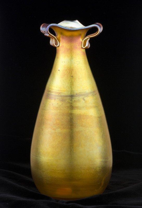 15: American Quezal iridescent gold vase