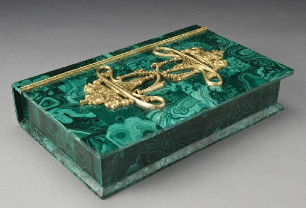 19: Russian malachite book form box, the hinged lid