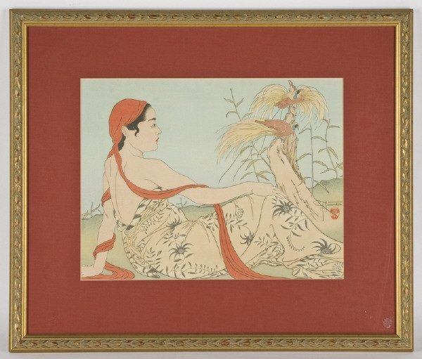 "20: Paul Jacoulet woodblock print, ""Les Paradisiers,"