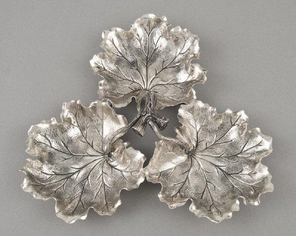 21: Italian Buccellati sterling silver three leaf tray