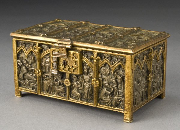 24: Gothic style silvered and gilt bronze casket,