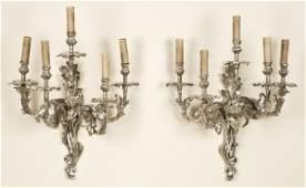 212 Pr Louis XV style silvered bronze 5 light sconces