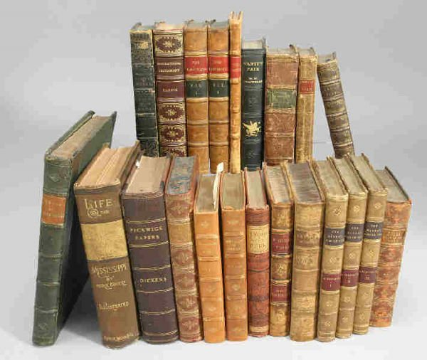 2: (22) Leather bound books incl. Mark Twains