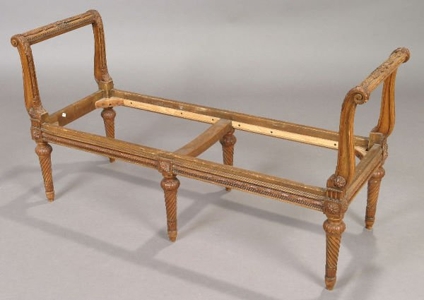 4: French Louis XVI style fruitwood window bench