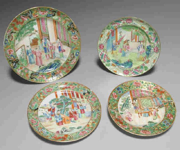 5: (4) Chinese Export Porcelain Rose Mandarin plates