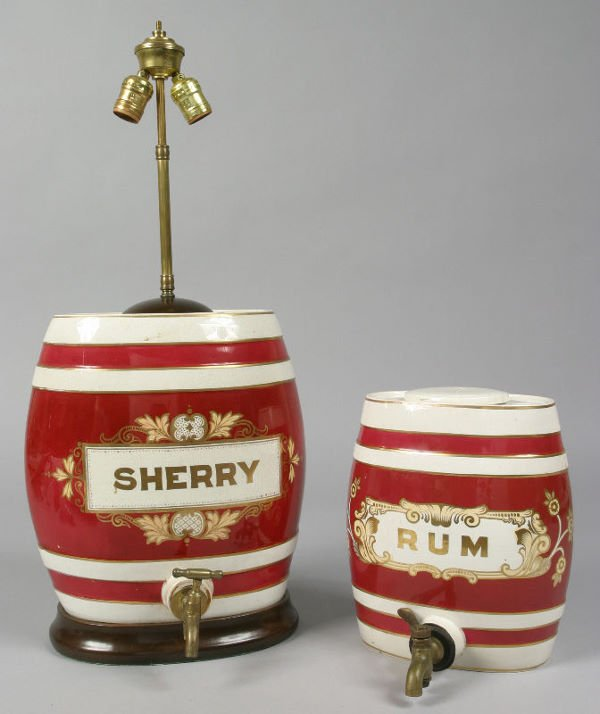 7: (2) English Victorian ceramic pub barrels