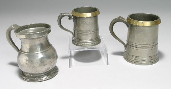 13: 3pcs. Marked English pewter mugs (2) Pewter