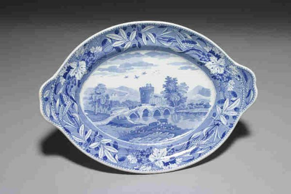 18: Marked Spode blue and white transferware platter