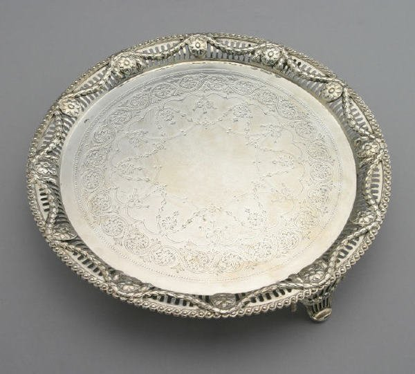 19: Hallmarked London sterling silver salver in the