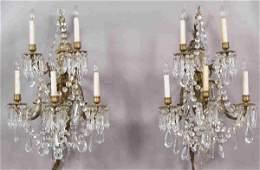 161 Pr gilt metal wall sconces with glass prisms